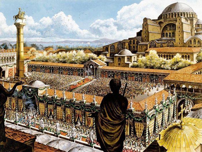 Дворец в Константинополе, где сидел втюремной башне Андроник. <br>