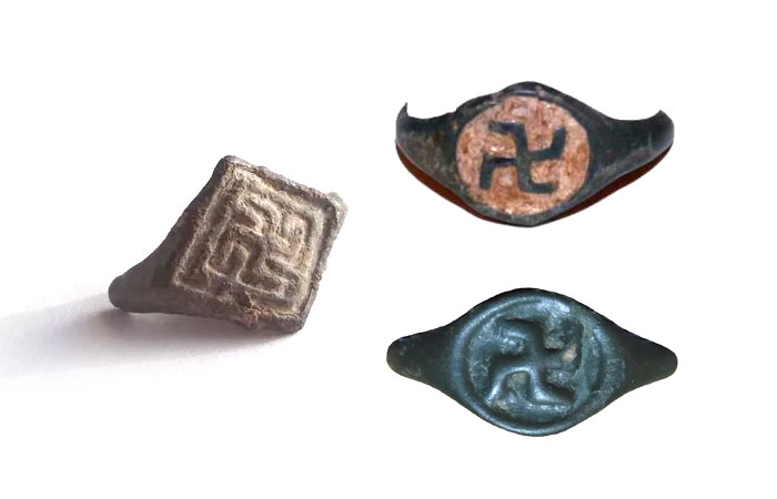 Русские перстни XIII - XV веков с изображением свастики.